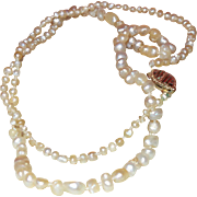 "SALE Vintage Cultured Pearl 14"" Necklace with 14K Gold Clasp"
