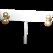 Vintage Cultured Pearl Earrings in 14 K Gold