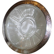 Vintage Cut Glass Bowl with Incised Silver Plate