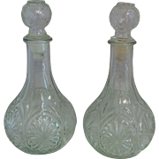 Vintage Matching Pair of Pressed Glass Decanters