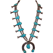 Vintage Squash Blossom Silver/Turquoise Necklace