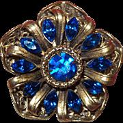 Vintage Marine Blue Rhinestone Gold Tone Brooch