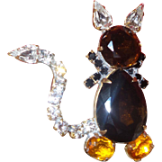 Vintage Cat Figural Brooch in Orange Brown Topaz Rhinestones