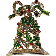 Signed Gerry Christmas Bell Brooch