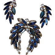 Juliana Blue and Clear Rhinestone Brooch in The Laurel Leaf Design with Earrings