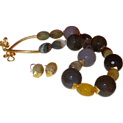 Artisan Hand Strung Brazilian Agate with Bandied Agate in Gold Plated Metal with Earrings