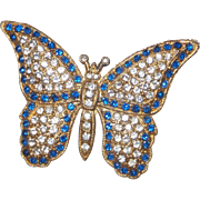 Vintage Classic Butterfly Brooch in Blue and Clear Rhinestones