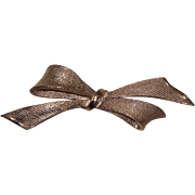 Signed Large Coro Brush Gold Tone Bow Brooch