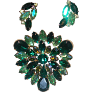 Large Unsigned Schreiner Green Rhinestone Brooch with earrings