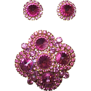 Juliana Fuchsia Rivoli Brooch with Matching Earrings