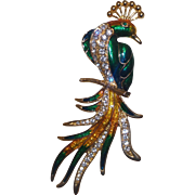 Large Unsigned Enamel and Rhinestone Peacock Brooch