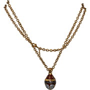 Joan Rivers Large Russian Tsarina Cyrillic Gold Tone Enamel Egg Pendant