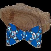 Vintage Blue Enamel Bow Brooch with Blue Crystals