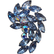 Vintage Crescent Shape Blue Rhinestone and Aurora Borealis Brooch