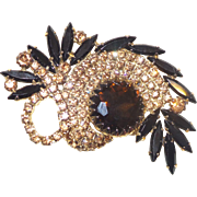 Unsigned Schreiner Brooch with Large Topaz Stone Surrounded by Topaz Rhinestones and Navettes
