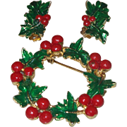 Vintage Holly Berry Wreath Brooch and Clip Earrings