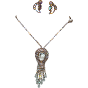 Vintage Crystal Rhinestone Necklace with Bezel Dangles with earrings
