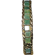 Signed Swoboda Bangle Bracelet in Jade and Gold Tone Metal