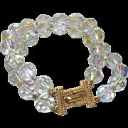 Signed Marvella Aurora Borealis Double Strand Bracelet
