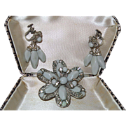 Signed Miriam Haskell Brooch and Earrings In Pale Grey Glass
