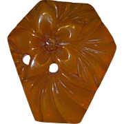 Carved Bakelite Dress Clip in Flower Motif
