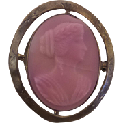 Antique 1900s Pink Burmese Glass Cameo Brooch