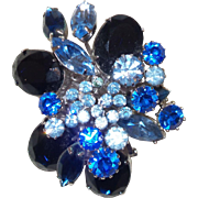Signed Corocraft Blue Rhinestone Brooch with