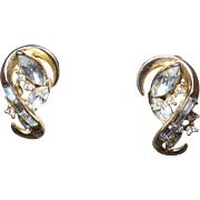 "Signed Crown Trifari ""Alfred Philippe"" Gold Tone Earrings with Rhinestones"