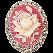 Vintage Rose Flower Cameo Brooch/Pendant