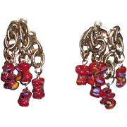 Signed Ultra Rare earrings by Jewels By Julio  RED ART GLASS BEAD & CHAIN EARRINGS