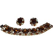 Vintage Bracelet and Earring Set in Root Beer and Clear Rhinestones