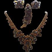 Juliana D&E Book Piece Bronze Necklace Brooch and Earrings