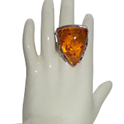 Vintage Baltic Amber Ring Set in Silver Plate