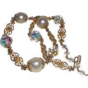 Signed Vendome Necklace with Faux Pearls and Aurora Borealis Crystals
