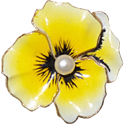 Vintage Yellow Pansy Flower Pin Brooch With Faux Pearl Center