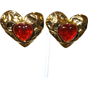 Signed 1960s Les Bernard Goldtone & Red Gripoix Heart Earrings For Vogue