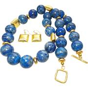 Artisan Lapis Lazuli  Necklace with Gold Plated Square Spacers and earrings