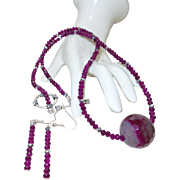 Artisan Created Volcano Quartz with Dyed Violet Riverstone Beads and Mirror Quartz Spacers