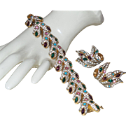 Signed Joseph Mazer Multi Colored Rhinestone Bracelet and Earrings