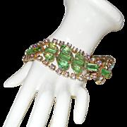 Crown Trifari Nile Green Rhinestone Bracelet with Aurora Borealis Crystals