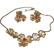 Unsigned Designer Crystal Flower Necklace Set in a Rainbow of Colored Rhinestones