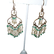 SALE Artisan Jade and Agate Chandelier Earrings in Gold Tone Metal