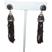 Ethnic Topaz and Marcasite Sterling Dangle Earrings