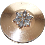 Vintage Gold Plated Pilcher Compact With Rhinestones