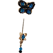 Figural Butterfly Stick Pin in Marine Blue Rhinestones