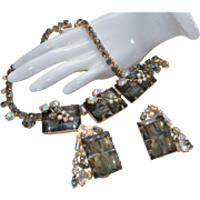 Unsigned Schreiner Necklace/Earrings in Topaz Rhinestones