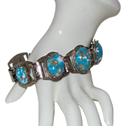 Unsigned Selro Bracelet with Blue and Gold Fluss Cabochons