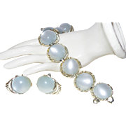 Vintage Coro Bracelet/Earrings With Gleaming  Moonglow