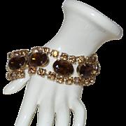 Vintage Topaz and Citrine Rhinestone Bracelet