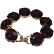 SALE Vintage Large Eggplant Colored Bracelet with Eight Individual  Stones